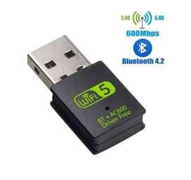 Adaptador  Wifi USB 2.4ghz + 5ghz 600mbps Red + Bluetooth