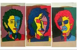 3 Cuadros decorativos pintados a mano