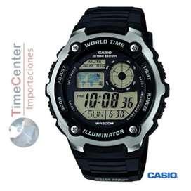 Reloj Casio Digital Hora Mundial Para Hombre AE-2100W-1AVDF