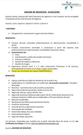 ASESOR DE NEGOCIOS - AYACUCHO HUANTA