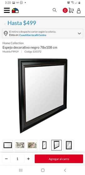 Espejo rectangular marrón oscuro