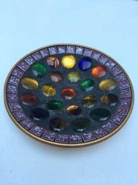 Cenicero vintage con venecitas y piedras de colores, unico!