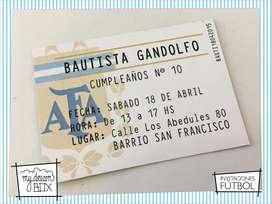 Souvenir Tarjetas Invitacion Futbol Cumple Infantil Evento Argentina AFA club Entrada Personalizada