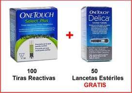 100 Tiras Reactivas ONETOUCH Select Plus y 50 Lancetas Estériles. (10.000 c/u)