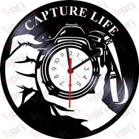 Reloj en vinilo LP camaras / vinyl clock photography camera