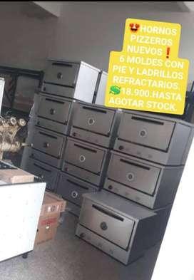 HORNOS PIZZEROS NUEVOS DE 6 MOLDES CON PIE Y  LADRILLOS REFRACTARIOS. HASTA AGOTAR STOCK.