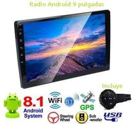 Pantalla Android 9 pulgadas, Radio para vehiculo  con control de volante y antena gps