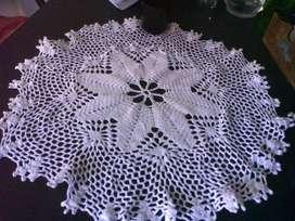 Mantelito hilo color blanco 60 cm