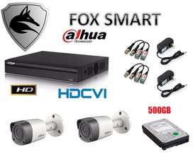 Kit 2 Camaras Dvr 4 Ch Dahua Hd Disco 500gb Fox Smart precio Navideño