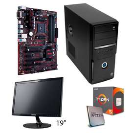 PC CPU Gamer Ryzen 5 2600 8gb Ram DD4 1.5TB HD- 2GB DDR5 Video R7 350
