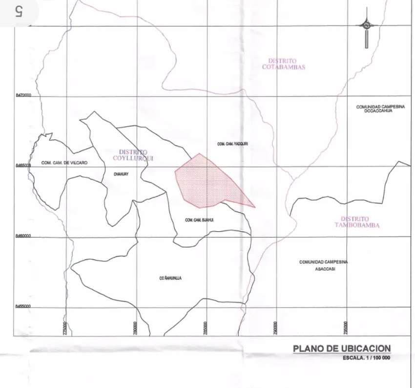 Venta de 1200 hectáreas en distrito de Coyllurqui, provincia de Cotabambas, Apurímac 0