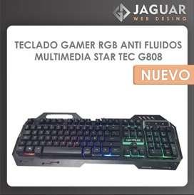 TECLADO GAMER  RGB ANTI FLUIDOS MULTIMEDIA STAR TEC G808