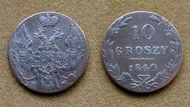 Moneda de 10 groszy de plata Polonia bajo dominación Rusa 1840