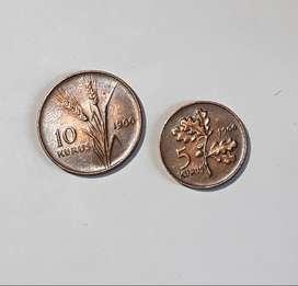 Lote, 2 monedas turcas de 1966, 10 y 5 kurus, AU