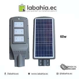Alumbrado publico 60w con panel solar, bateria y sensor dia - noche