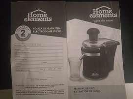 Vendo extractor de jugo Home elements totalmente nuevo