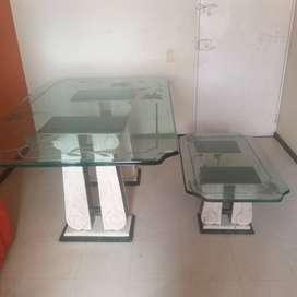 Vendo mesas comedor y centro sala con bases en marmol