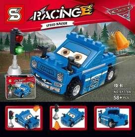 Nascar Carrera Cars Rayo Mcqueen Embarrado Mini Figura Lego Regalo