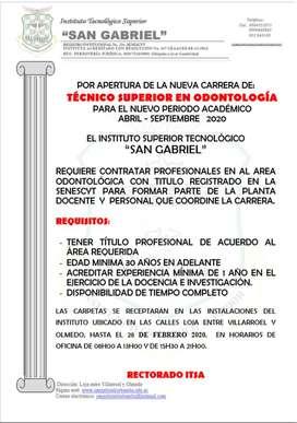 SE REQUIERE PROFESIONALES EN EL AREA ODONTOLOGICA