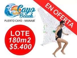 SOLARES DE 180M2 A 5.400 USD EN EL MAR, LOTIZACIÓN CAYO BEACH, SOLICITAME EL PLANO, SOLO EN EFECTIVO. S1