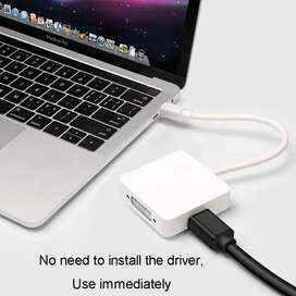 Cable Convertidor 3 En 1 Mini Displayport A Hdmi Vga Dvi Mac
