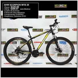 Bicicletas Montañeras SHW SCORPION MTB 29 Cuadro de Aluminio y Componentes SHIMANO, suspension ,frenos disco, cassete