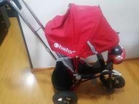 Triciclo paseador tipo moto marca ebaby rojo