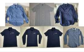 Combo 7 Camisas camisetas camibuso manga larga manga corta azul azules
