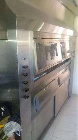 Vendo montaje completo para asadero de pollos - con horno infrarrojo a gas para 48 pollos y menajes completos