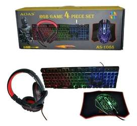 Teclado+Mouse+Diadema RGB 4en 1 Luz Led