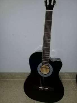Guitarra nueva de color negro, marca Venezia