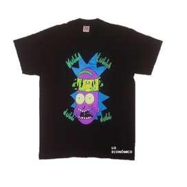 Camiseta Unisex Negra Con Estampado Neón De Rick And Martin