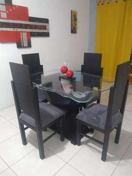 Comedor en vidrio 4 puestos como nuevo