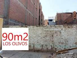 TERRENO EN VENTA, LOS OLIVOS 90 m2