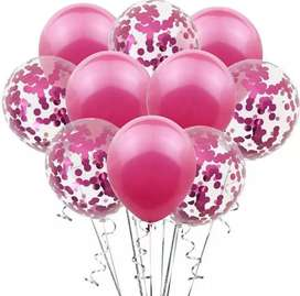 Vendo set globos confeti rosados