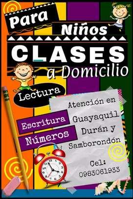 A Domicilio, clases para niños en escritura, lectura y números. Enseñanza y/o nivelación de conocimientos