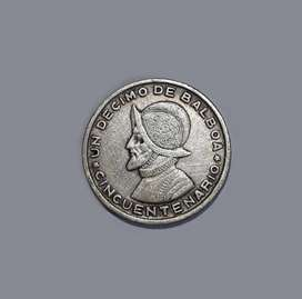 Moneda de Panamá, 1/10 de Balboa, plata 900, 1953, XF
