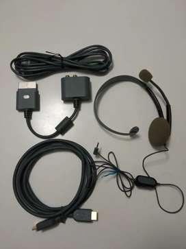 Diademas de XBOX 360 más Cables de HDMI , Cable Consola y Cable Internet Originales XBOX Microsoft