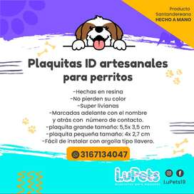 plaquitas ID artesanales para mascotas