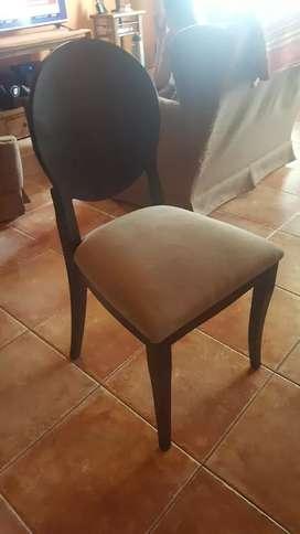 Vendo 6 sillas de  madera y tela (sin uso)