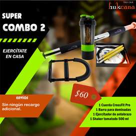 SUPER COMBO, EJERCÍTATE EN CASA (Cuerda, barra de dominadas, ejercitador de antebrazo, Shaker)