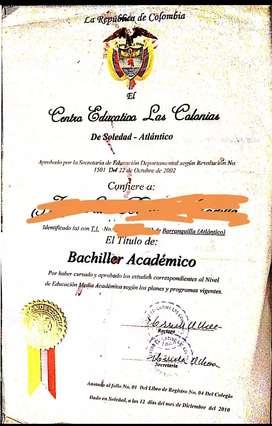 Certificate ya, como bachiller