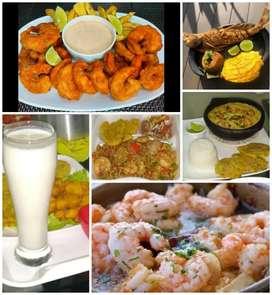 Deliciosa y fresca comida de mar.