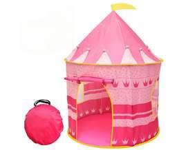 Tienda castillo de princesa rosa portátil para juegos de niñas Uso en interiores y exteriores – Resistente al agua