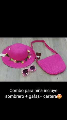 Combo para niña,incluye cartera , sombrero y gafas