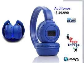Audífonos bluetooth diadema pantalla micro sd radio