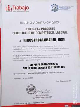 MAESTRO DE OBRA / PROFESIONAL TECNICO EN CONSTRUCCION CIVIL