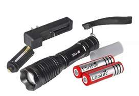 KIT NUEVA LINTERNA LED ULTRAFIRE 2000 LUMENS RECARGABLE ZOOM  2 PILAS