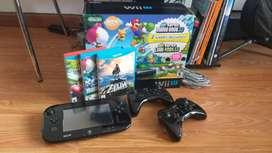 Wii u con 3 controles, 3 juegos