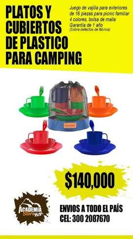 Platos y cubiertos para camping